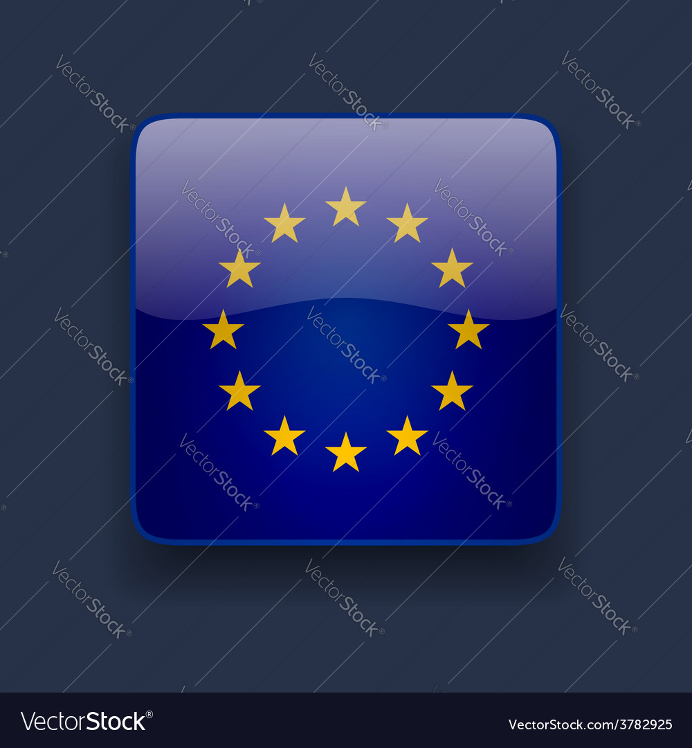 Square icon with flag of europe vector | Price: 1 Credit (USD $1)