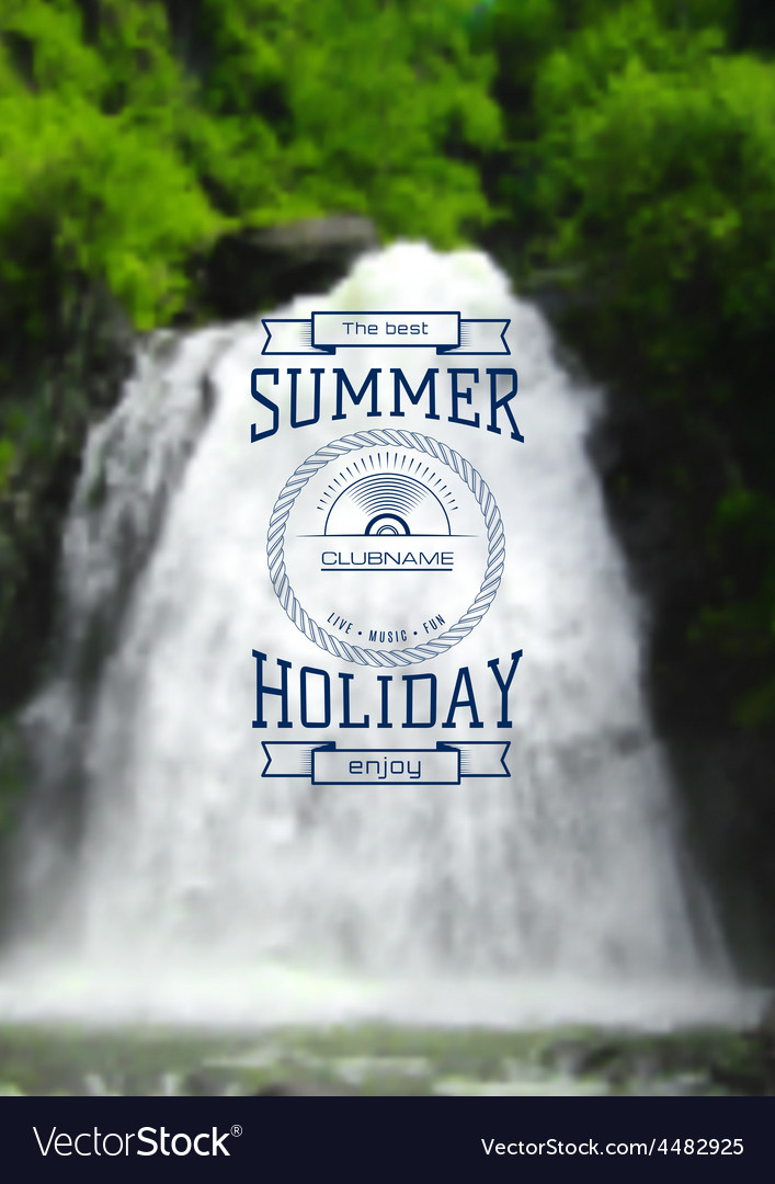 Summer holiday label logo on the background vector | Price: 1 Credit (USD $1)