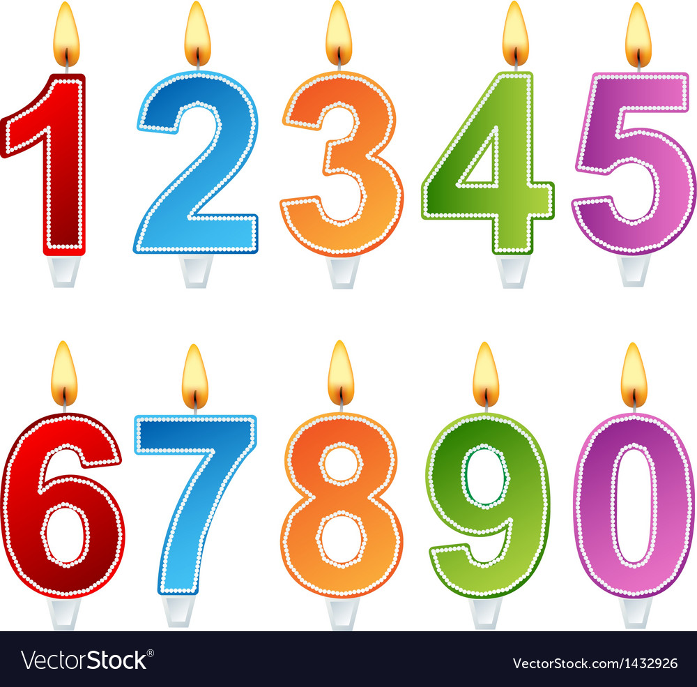 Birthday number candle set vector | Price: 1 Credit (USD $1)