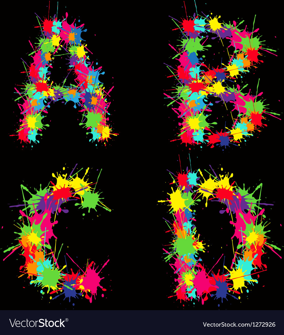 Colorful alphabet with blots abcd vector | Price: 1 Credit (USD $1)