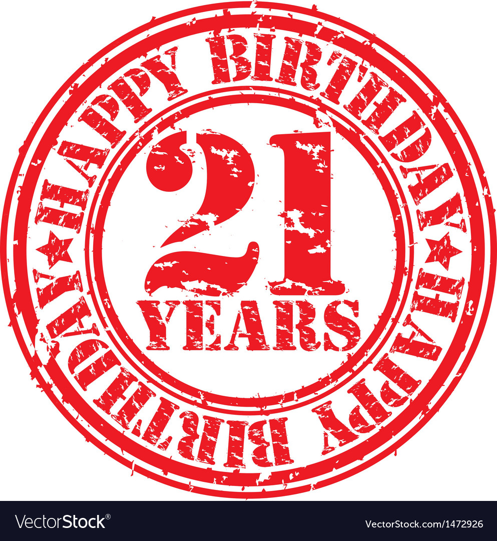 Grunge 21 years happy birthday rubber stamp vector | Price: 1 Credit (USD $1)