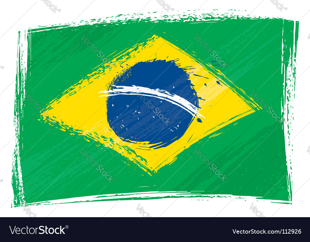 Grunge brazil flag vector | Price: 1 Credit (USD $1)