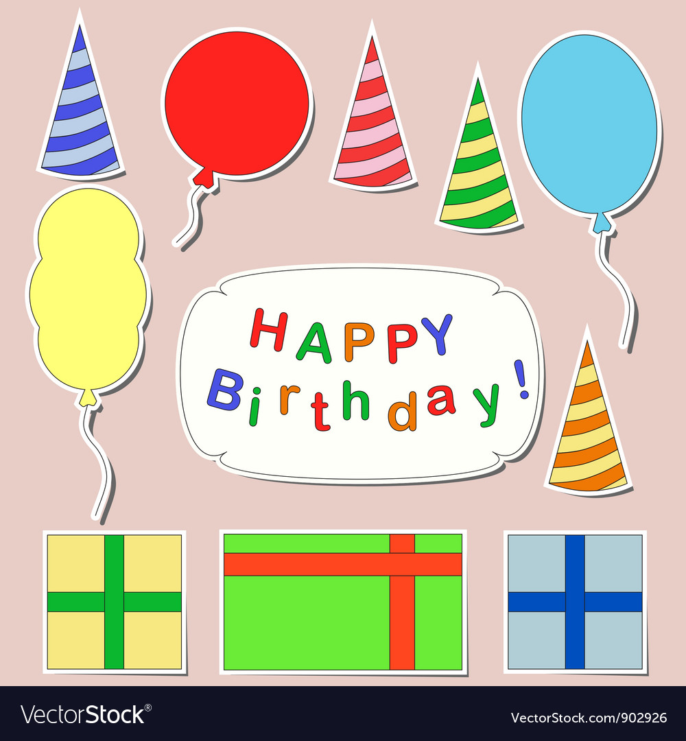 Happy birthday stickers set vector | Price: 1 Credit (USD $1)