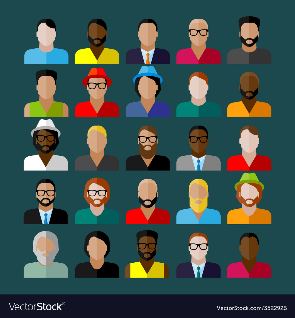 Men appearance icons people flat icons collection vector | Price: 1 Credit (USD $1)