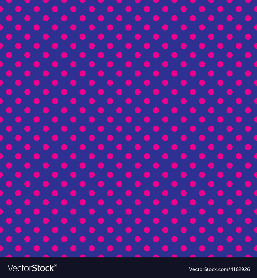 Tile pattern with pink polka dots blue background vector | Price: 1 Credit (USD $1)