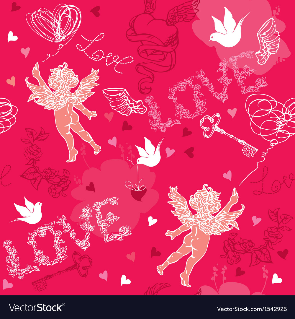 Valentines day seamless pattern with cupid vector | Price: 1 Credit (USD $1)