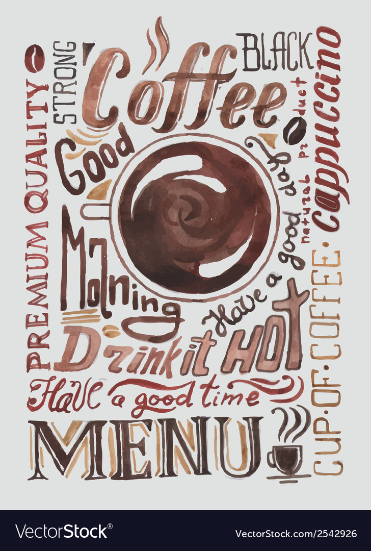Watercolor coffee poster typography background vector | Price: 1 Credit (USD $1)