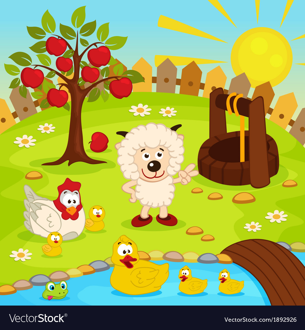 Yard with animals and pond vector | Price: 3 Credit (USD $3)