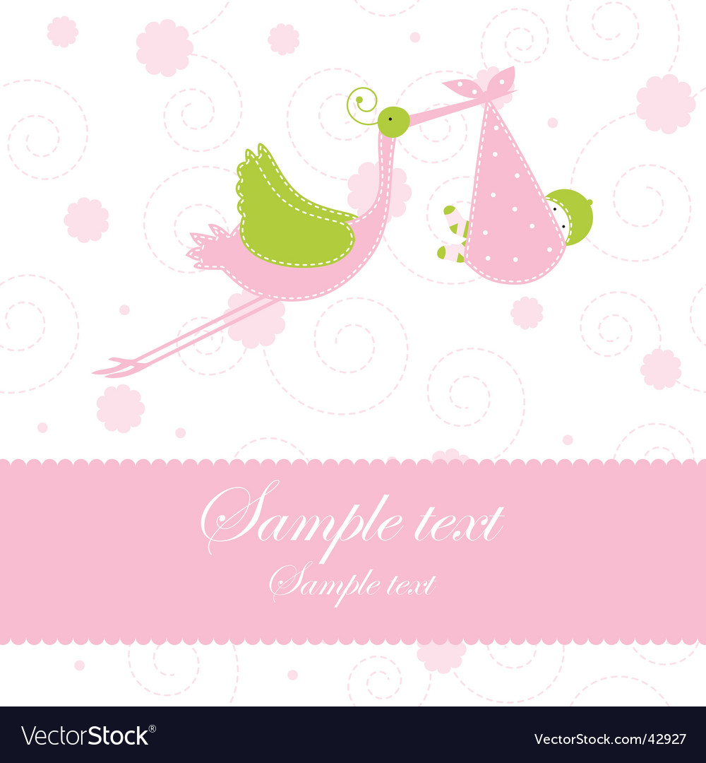 Baby girl arrival announcement card vector | Price: 1 Credit (USD $1)