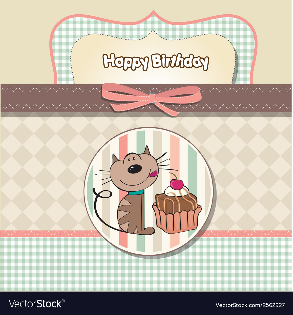 Birthday greeting card with a cat waiting to eat a vector | Price: 1 Credit (USD $1)