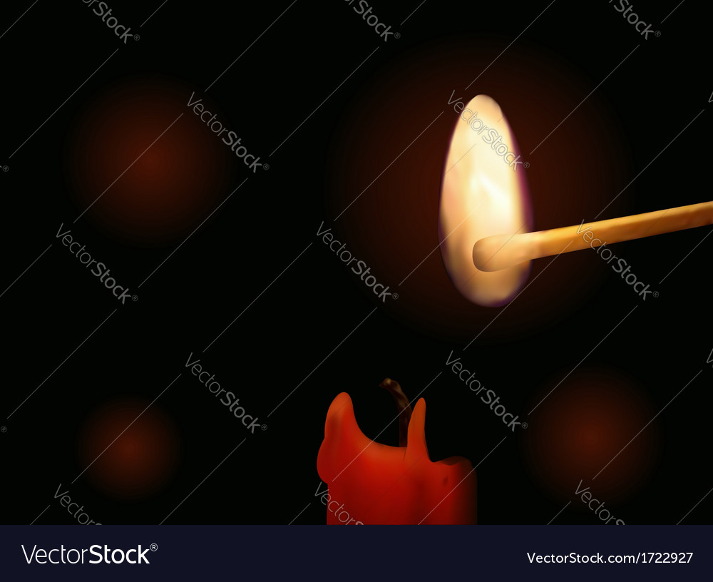 Candle and burning match vector | Price: 1 Credit (USD $1)