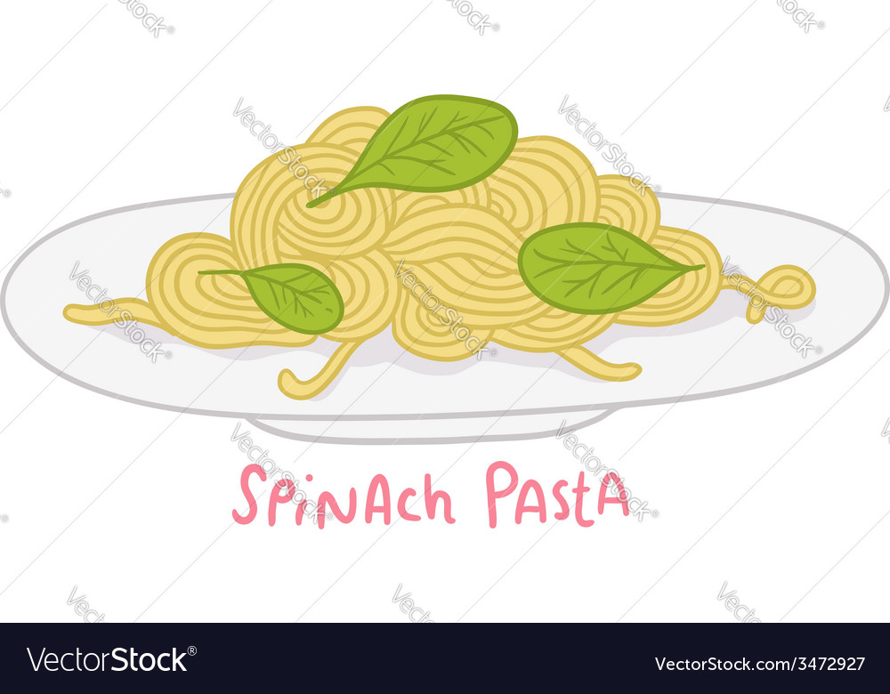 Cartoon hand drawn spinach pasta vector | Price: 1 Credit (USD $1)