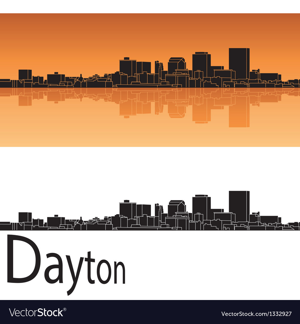 Dayton skyline in orange background vector | Price: 1 Credit (USD $1)
