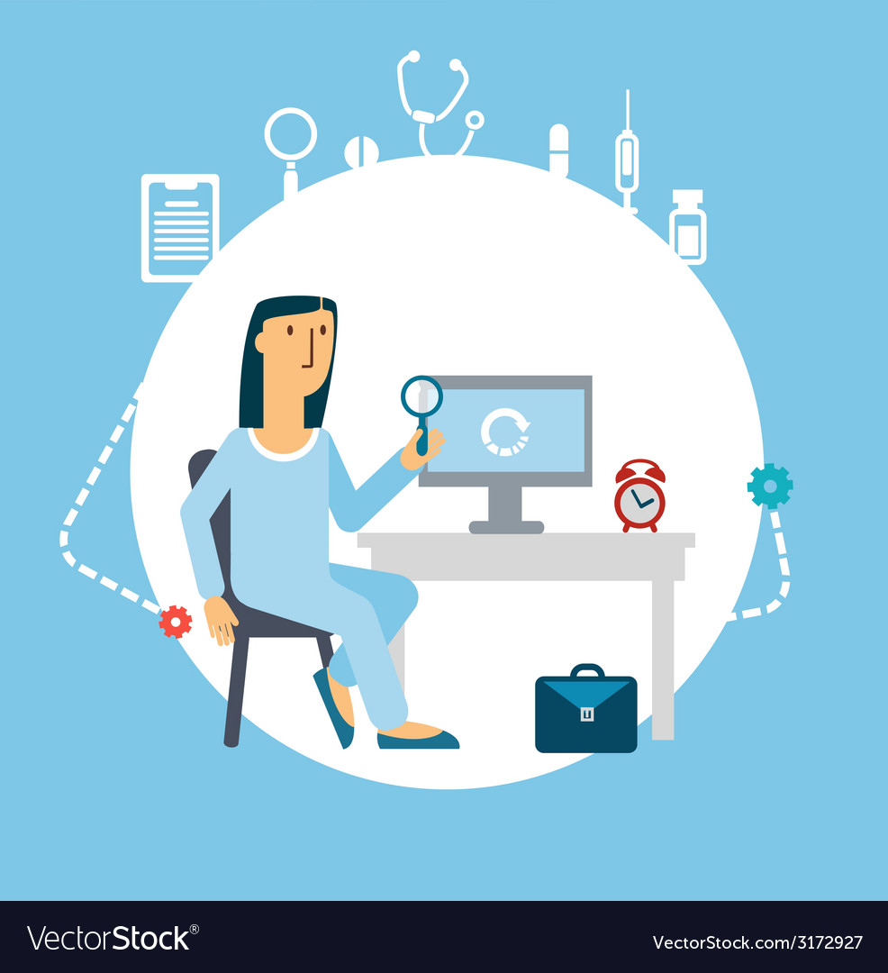 Doctor looking at computer vector | Price: 1 Credit (USD $1)