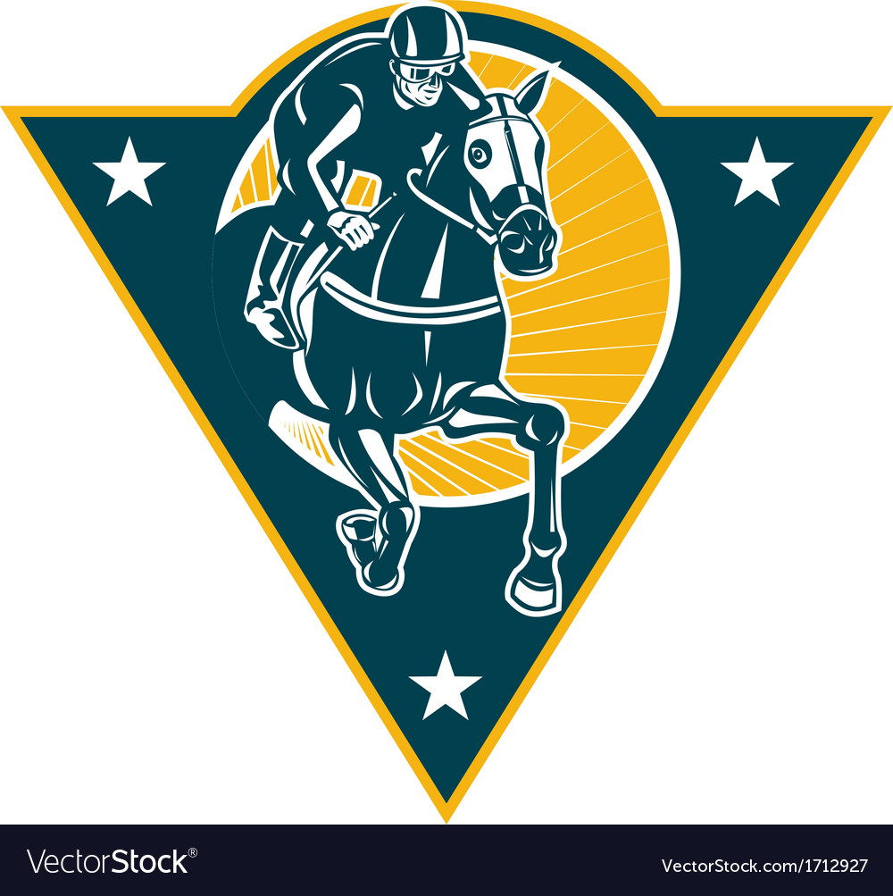 Equestrian horse racing jockey retro vector | Price: 1 Credit (USD $1)