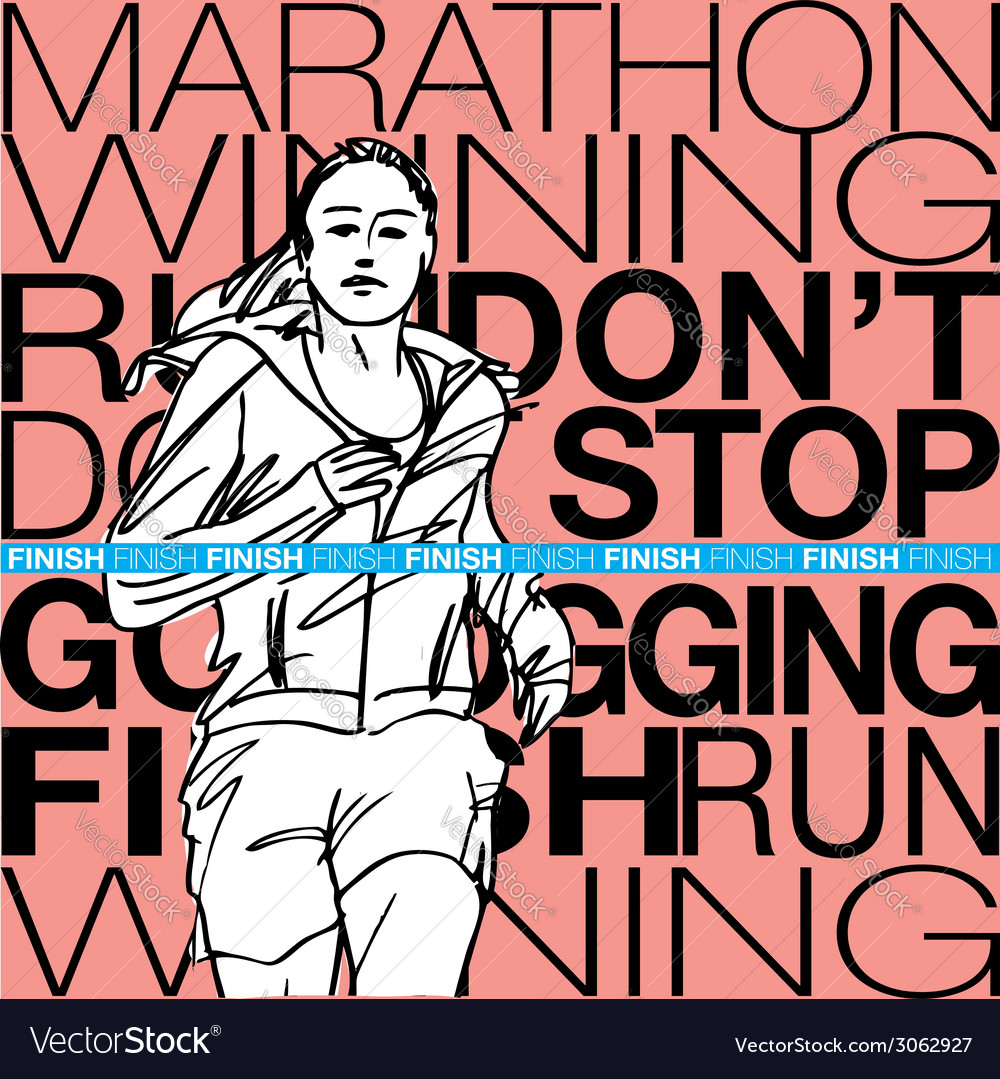Female runner sketch vector | Price: 1 Credit (USD $1)