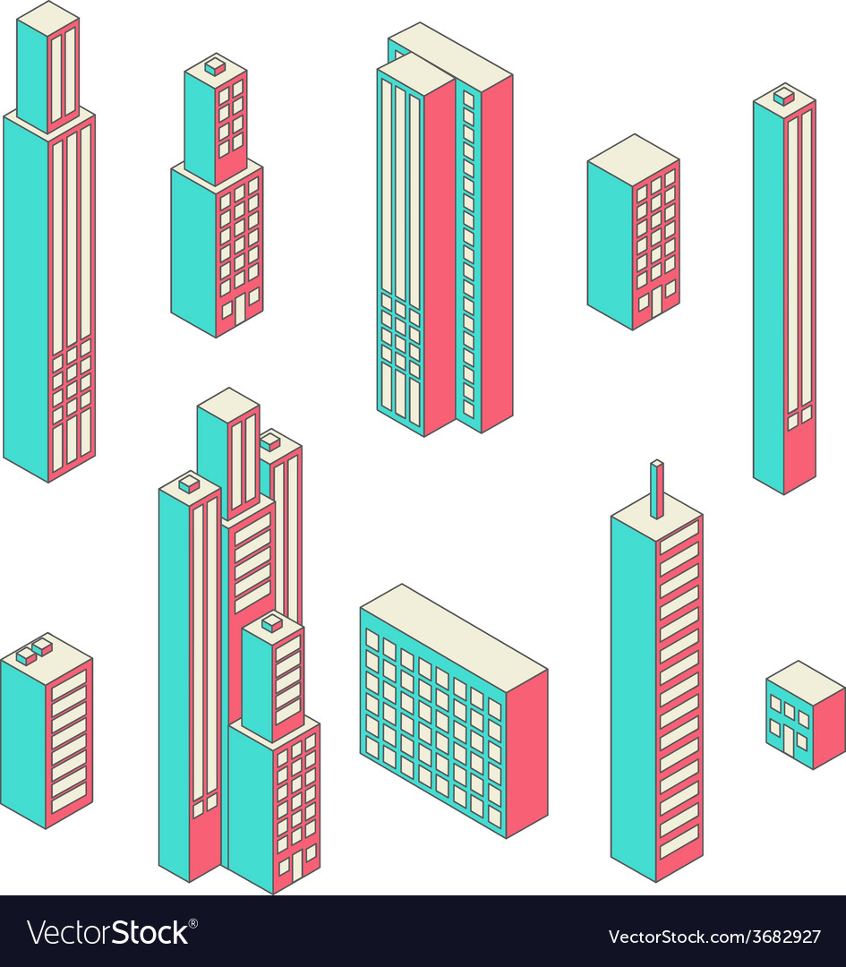 Set of tall buildings vector | Price: 1 Credit (USD $1)