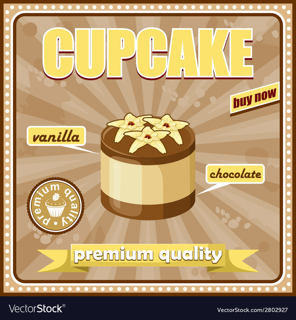 Vintage cupcake poster vector | Price: 3 Credit (USD $3)