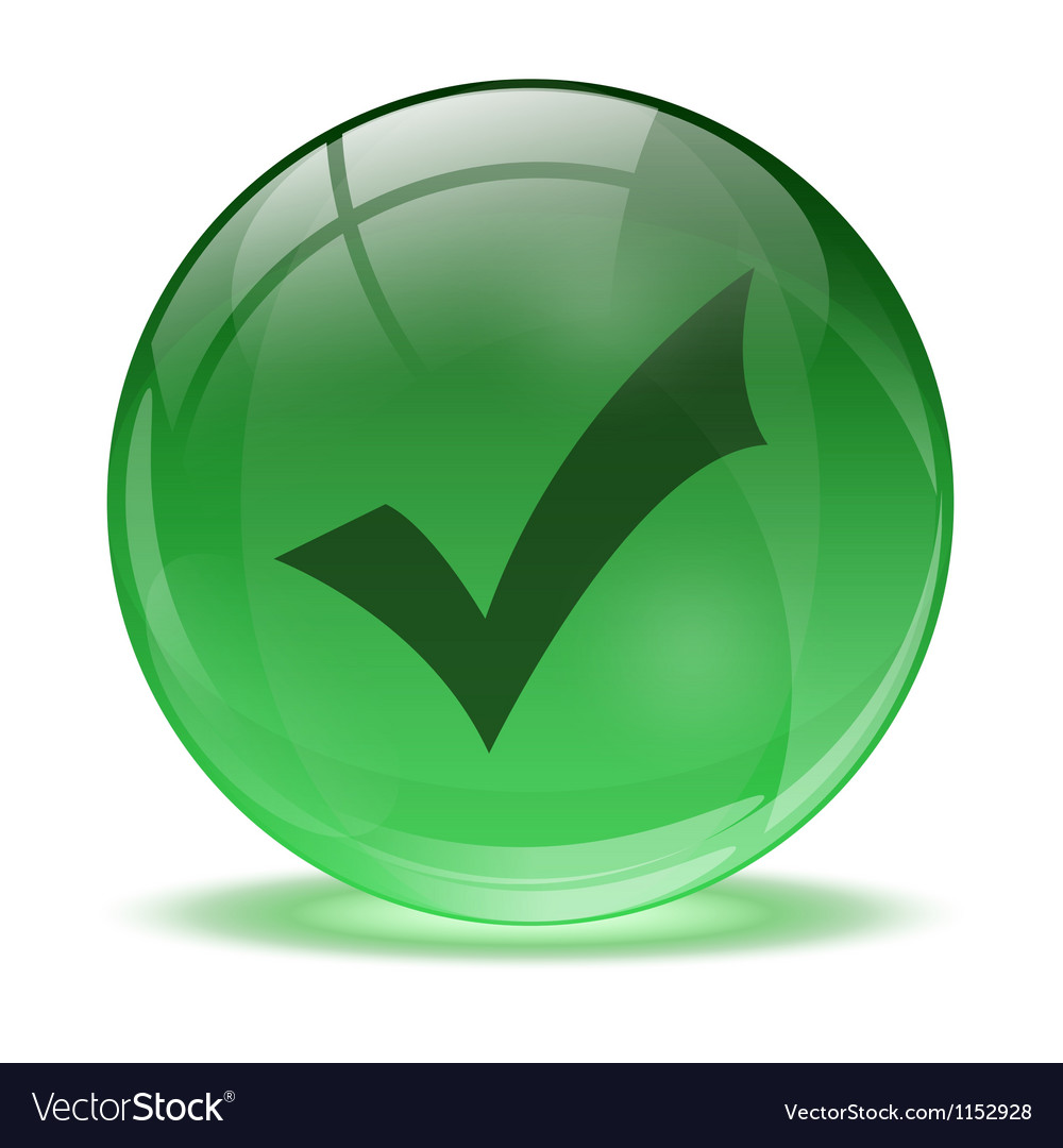 3d glass sphere and green okay icon vector | Price: 1 Credit (USD $1)