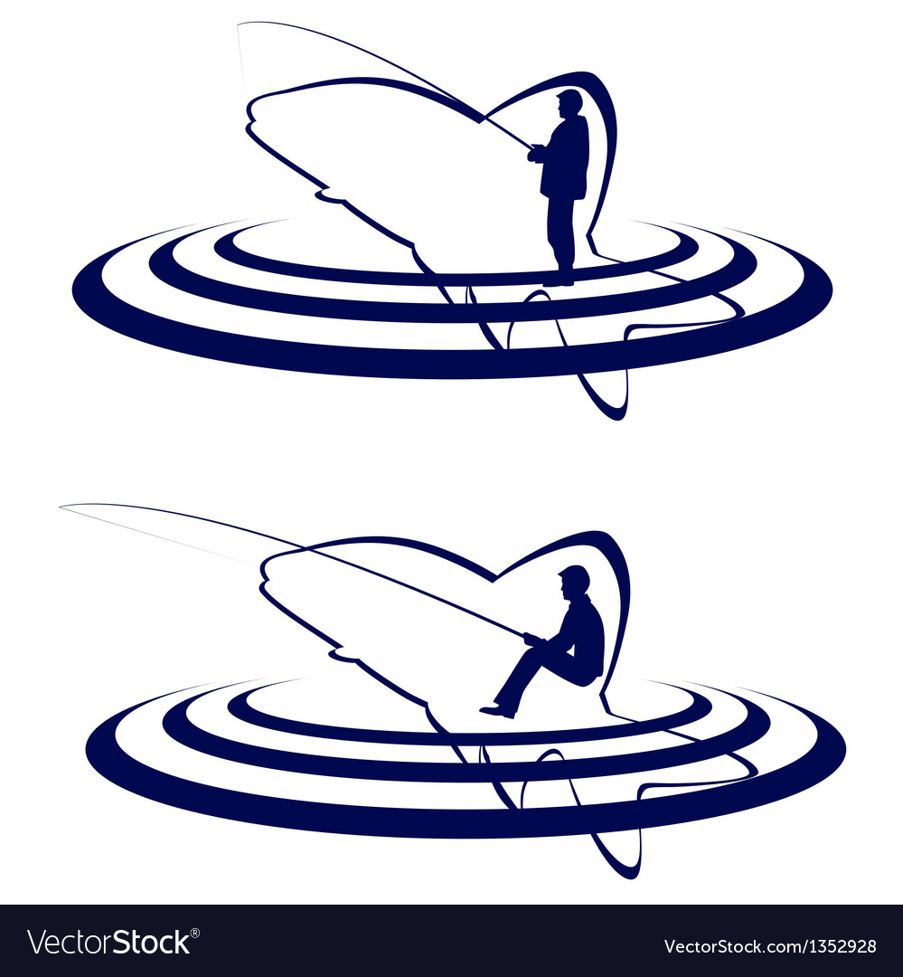 The fisherman and the fish vector