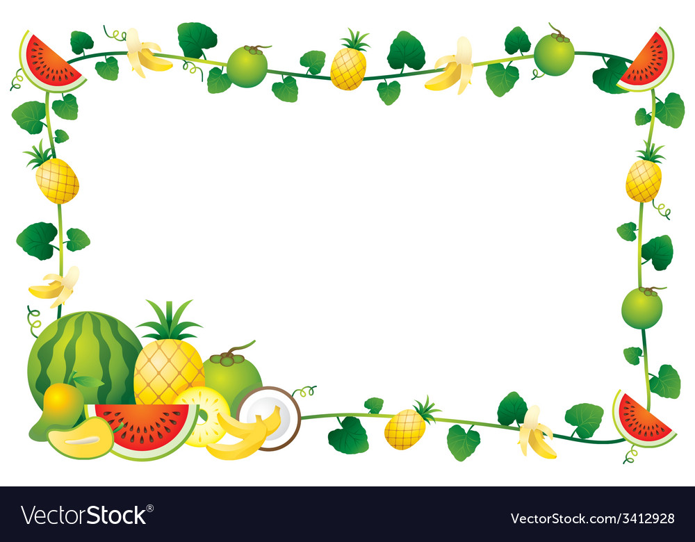 Mixed fruits border frame vector | Price: 1 Credit (USD $1)