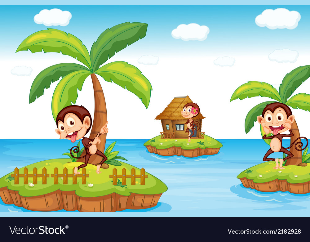 Monkeys at the beach vector | Price: 1 Credit (USD $1)