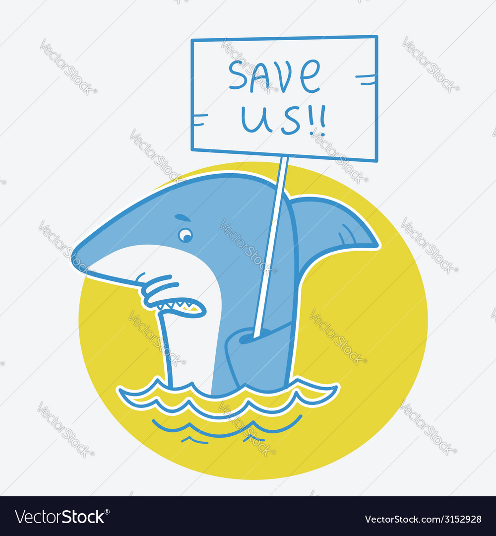 Save sharks card on white vector | Price: 1 Credit (USD $1)