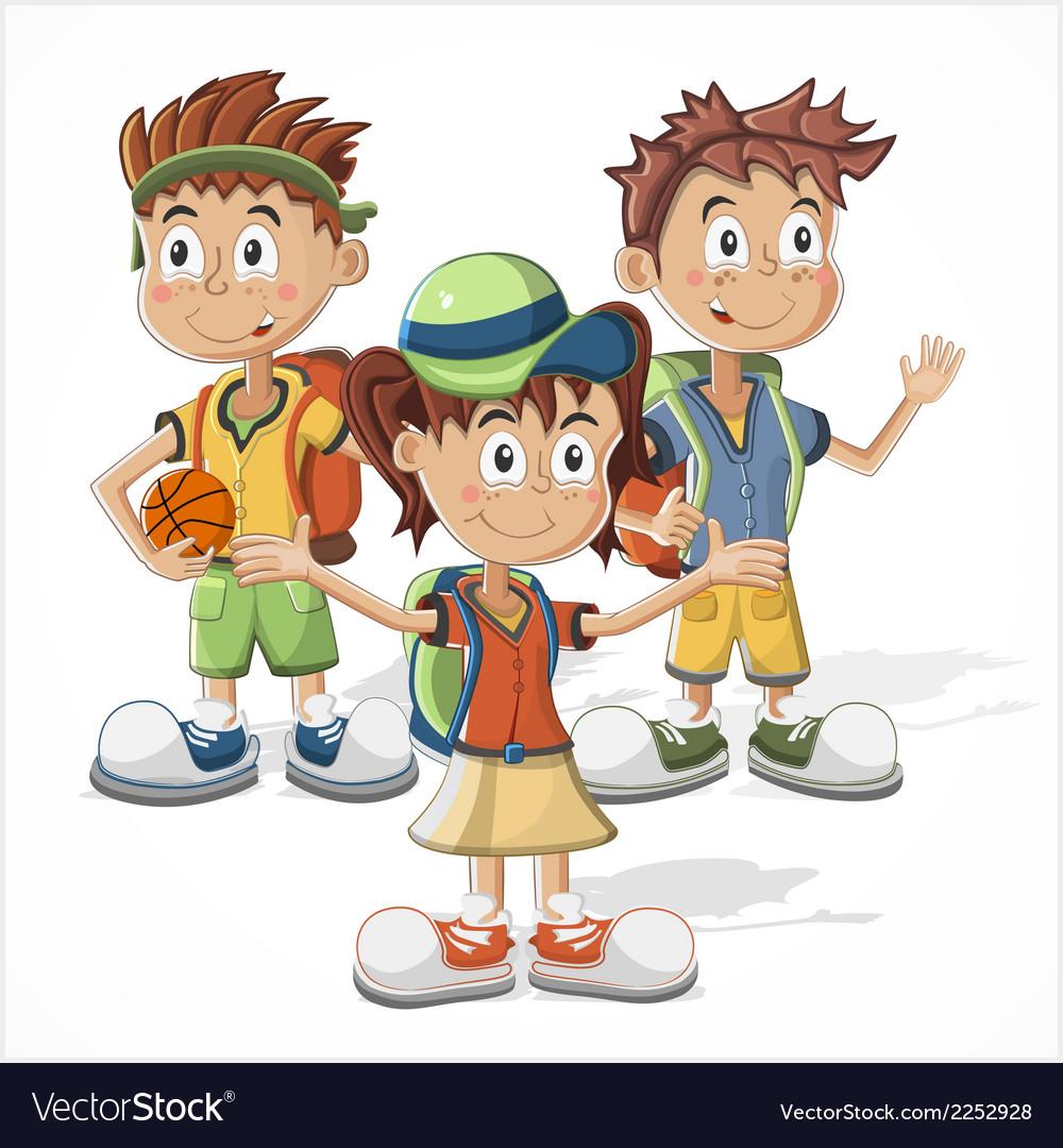 Schoolchildren vector | Price: 1 Credit (USD $1)