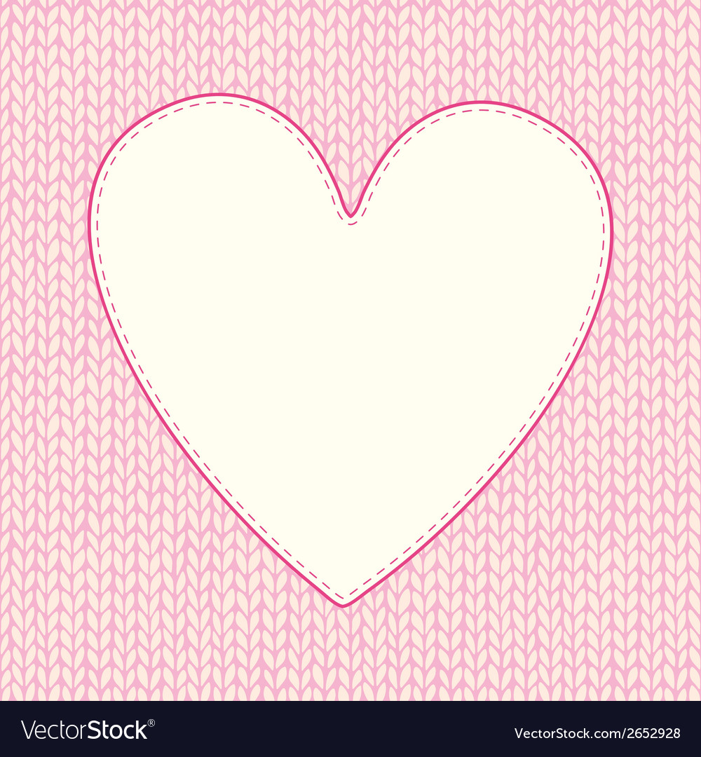 Seamless knitted pattern with heart shaped frame vector | Price: 1 Credit (USD $1)