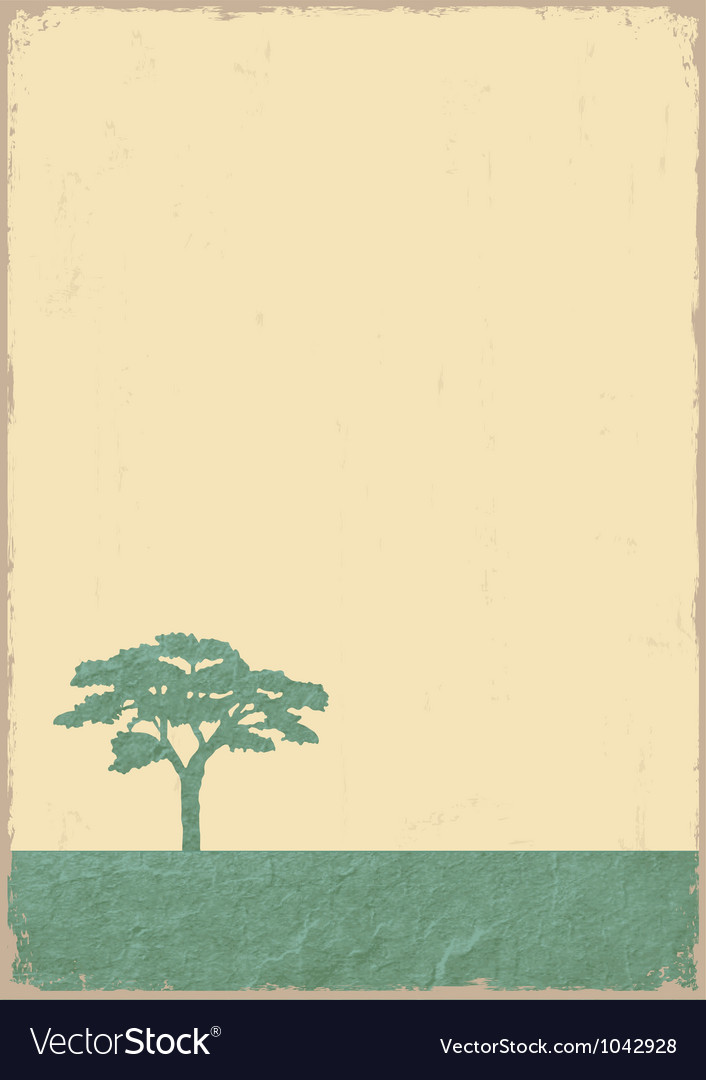 Silhouette of tree on grunge old paper vector | Price: 1 Credit (USD $1)