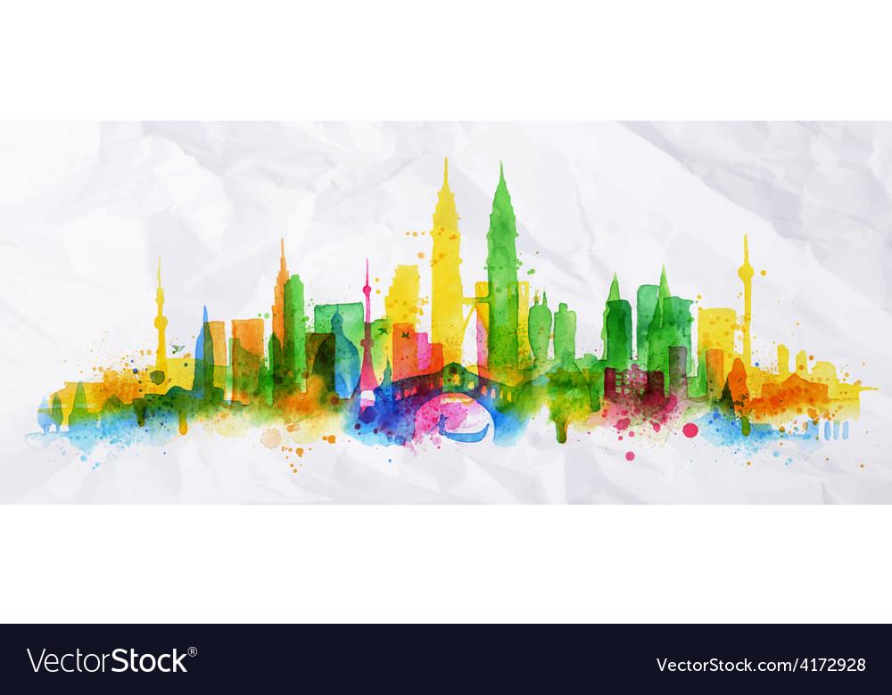 Silhouette overlay city kuala lumpur vector   Price: 3 Credit (USD $3)