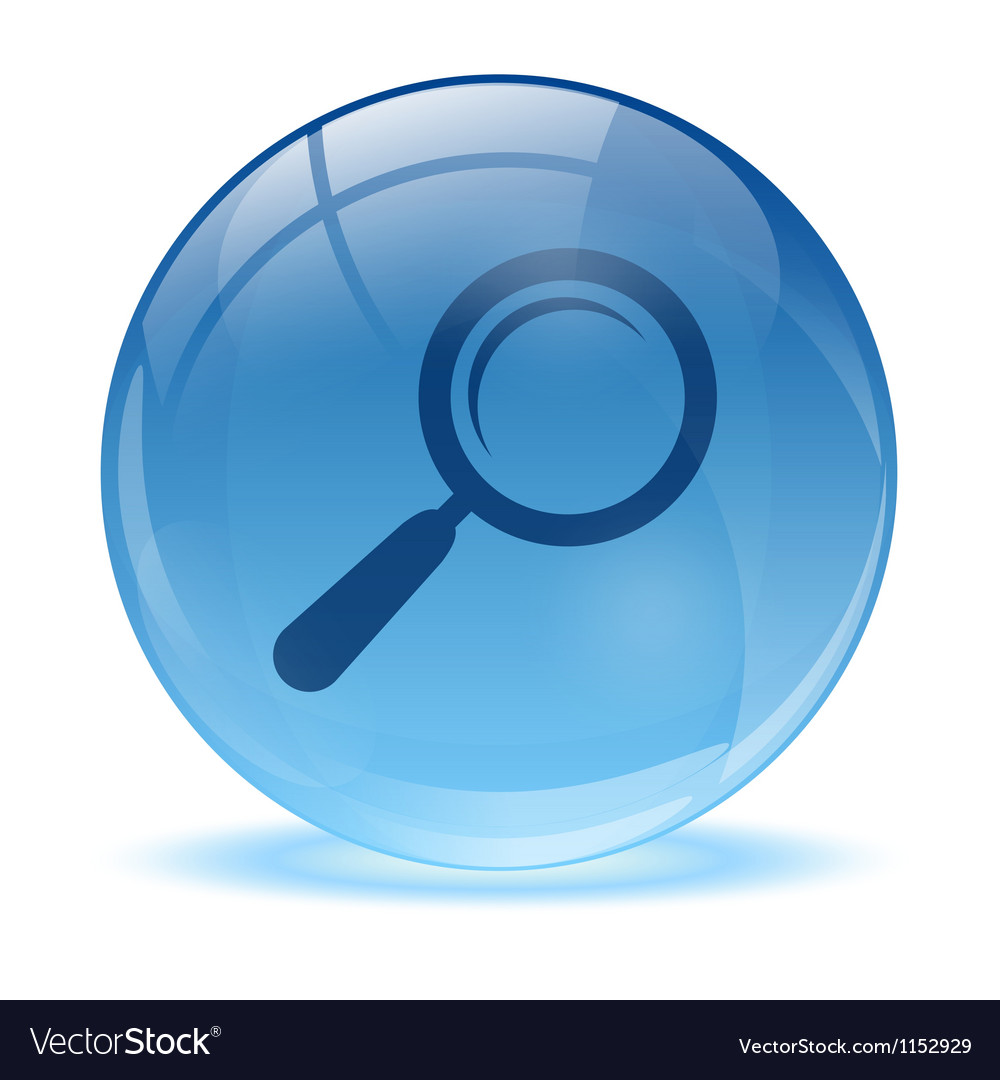 3d glass sphere and magnifying glass icon vector | Price: 1 Credit (USD $1)