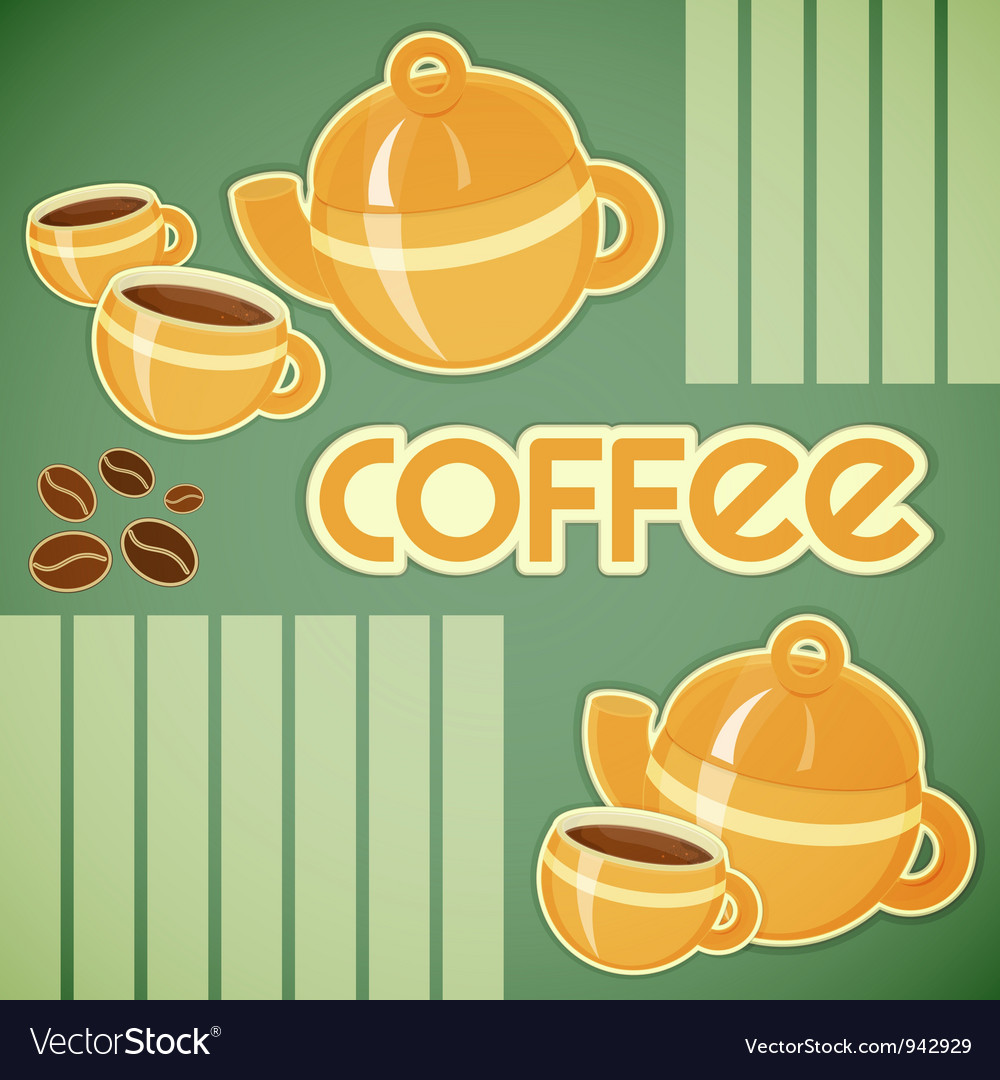Coffee cups coffee pot and coffee beans vector | Price: 1 Credit (USD $1)