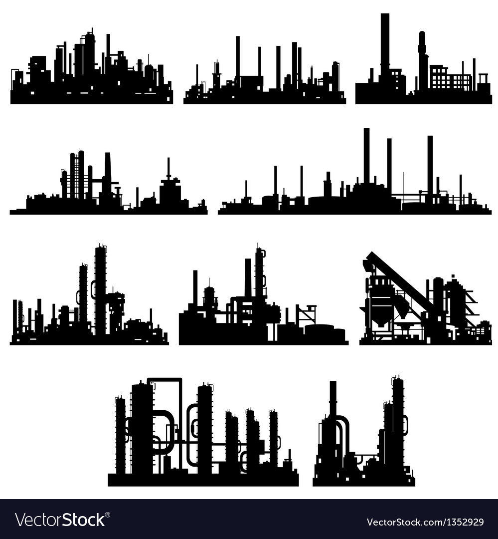 The contours of industrial buildings and vector | Price: 1 Credit (USD $1)