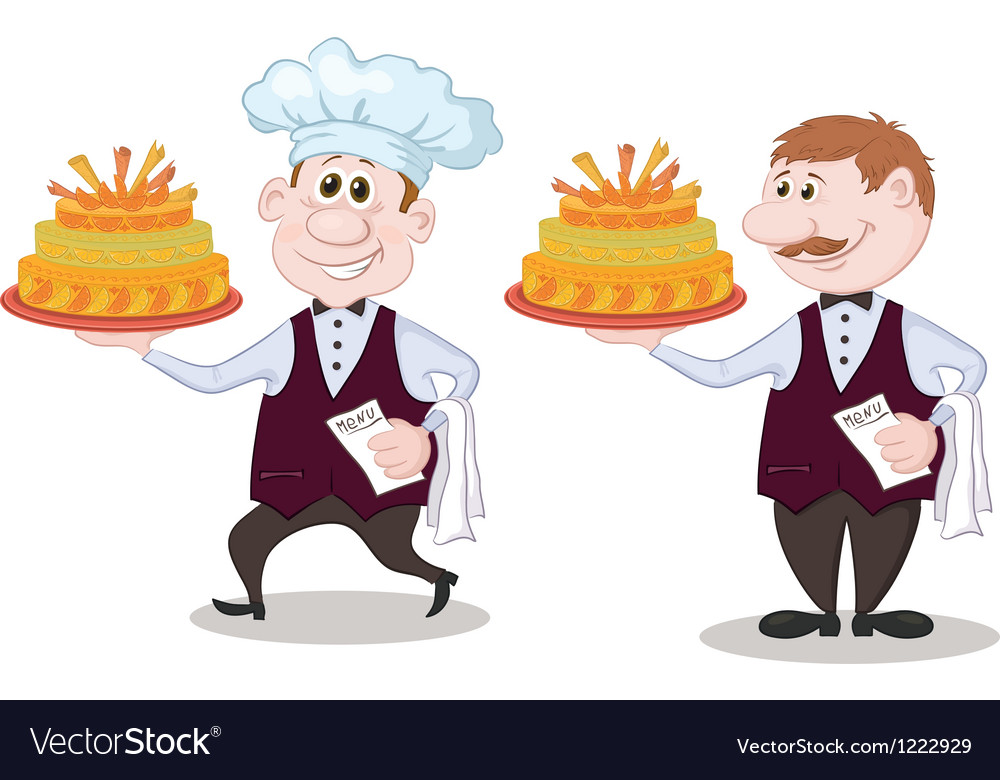 Cook and waiter with holiday cakes vector | Price: 3 Credit (USD $3)