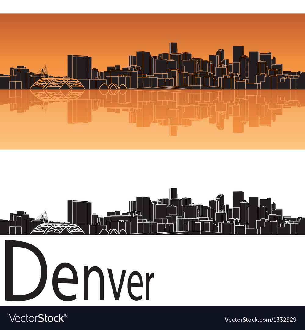 Denver skyline in orange background vector | Price: 1 Credit (USD $1)