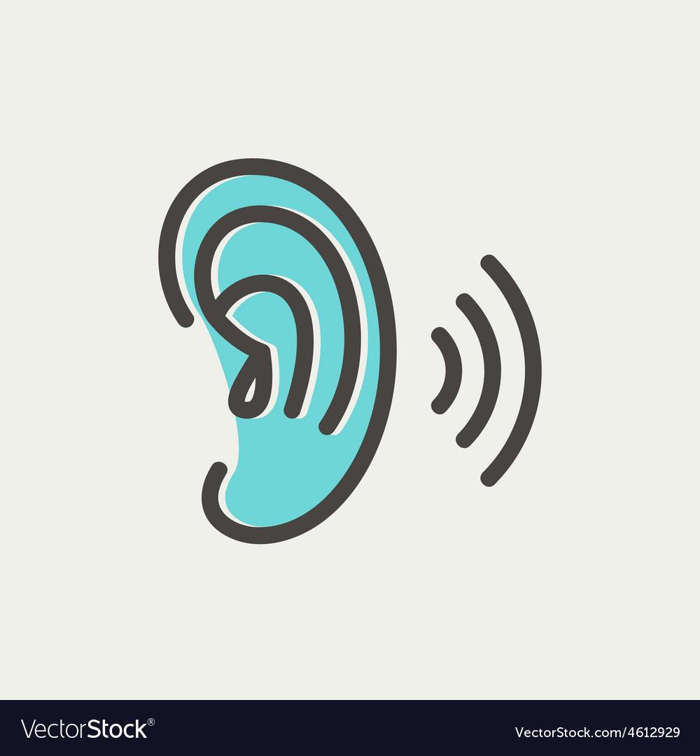 Ear thin line icon vector | Price: 1 Credit (USD $1)