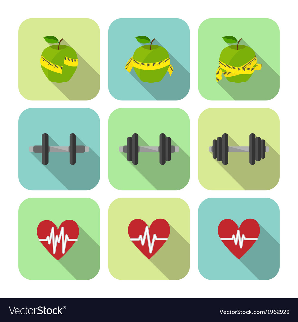 Fitness sport exercises progress icons set vector | Price: 1 Credit (USD $1)