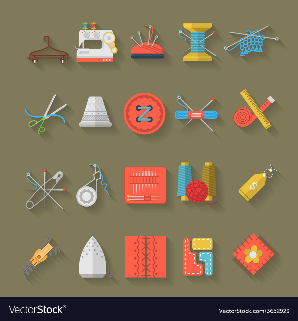 Flat design icons collection of sewing items vector | Price: 1 Credit (USD $1)