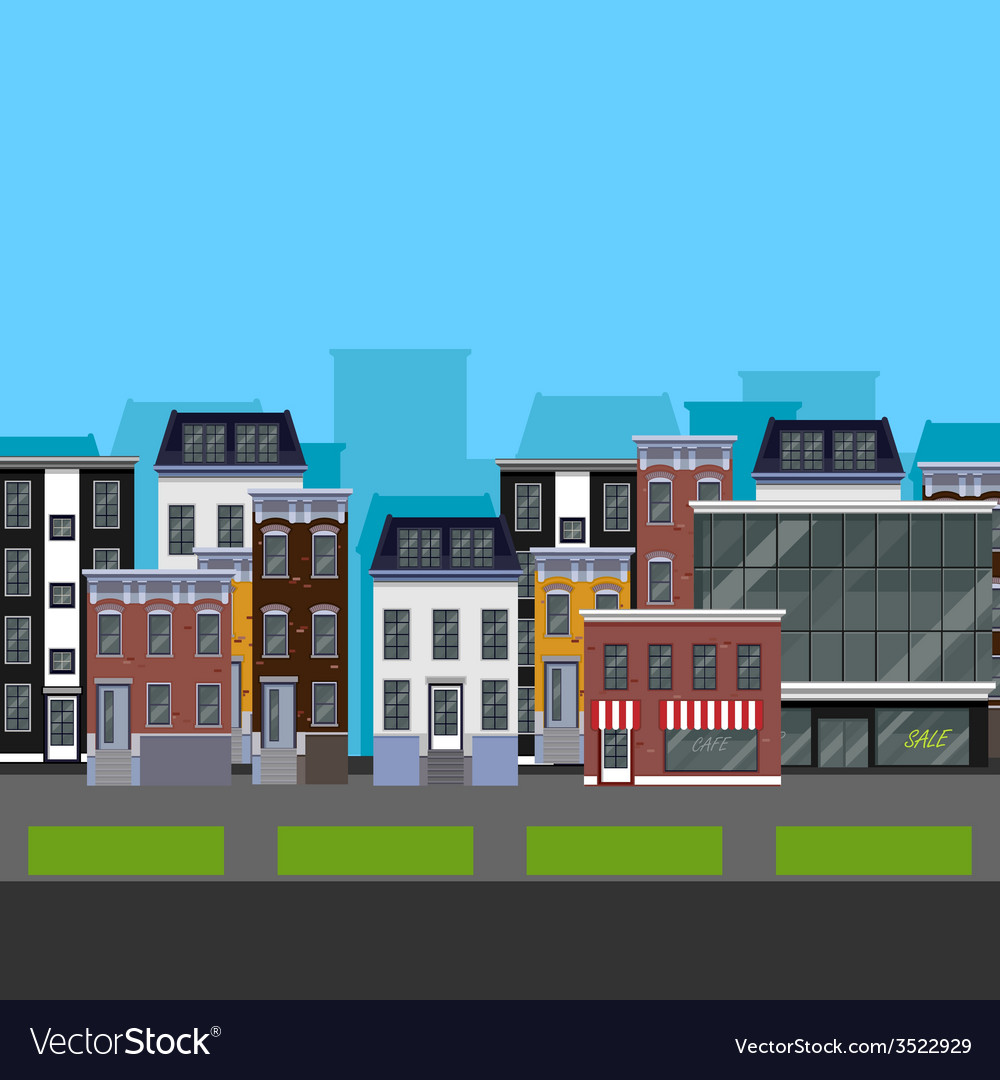 Flat design urban landscape of a street with vector | Price: 1 Credit (USD $1)