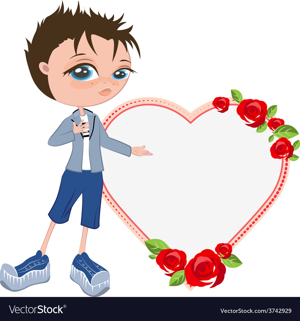 In love with boy shows heart template for vector | Price: 1 Credit (USD $1)