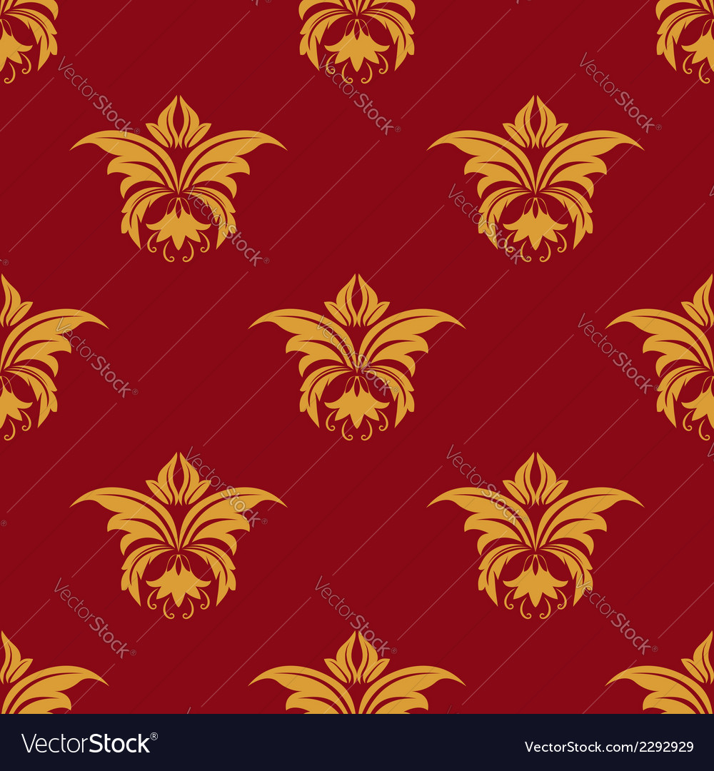 Maroon and yellow seamless floral pattern vector | Price: 1 Credit (USD $1)
