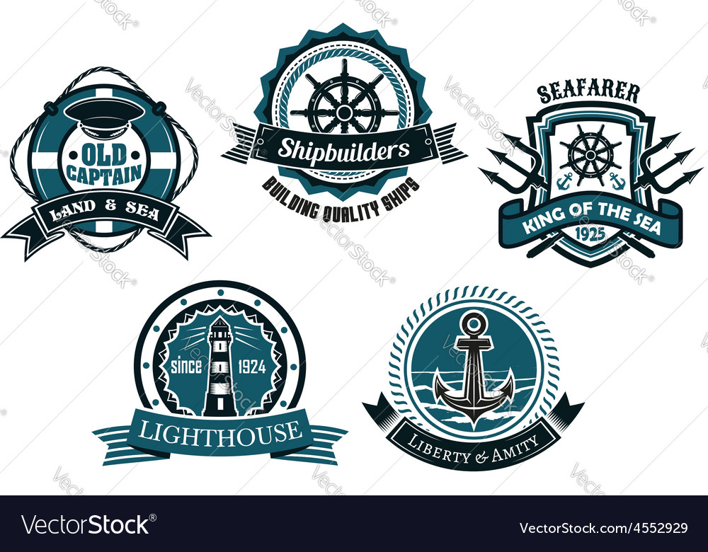 Nautical themed emblems and badges vector | Price: 1 Credit (USD $1)