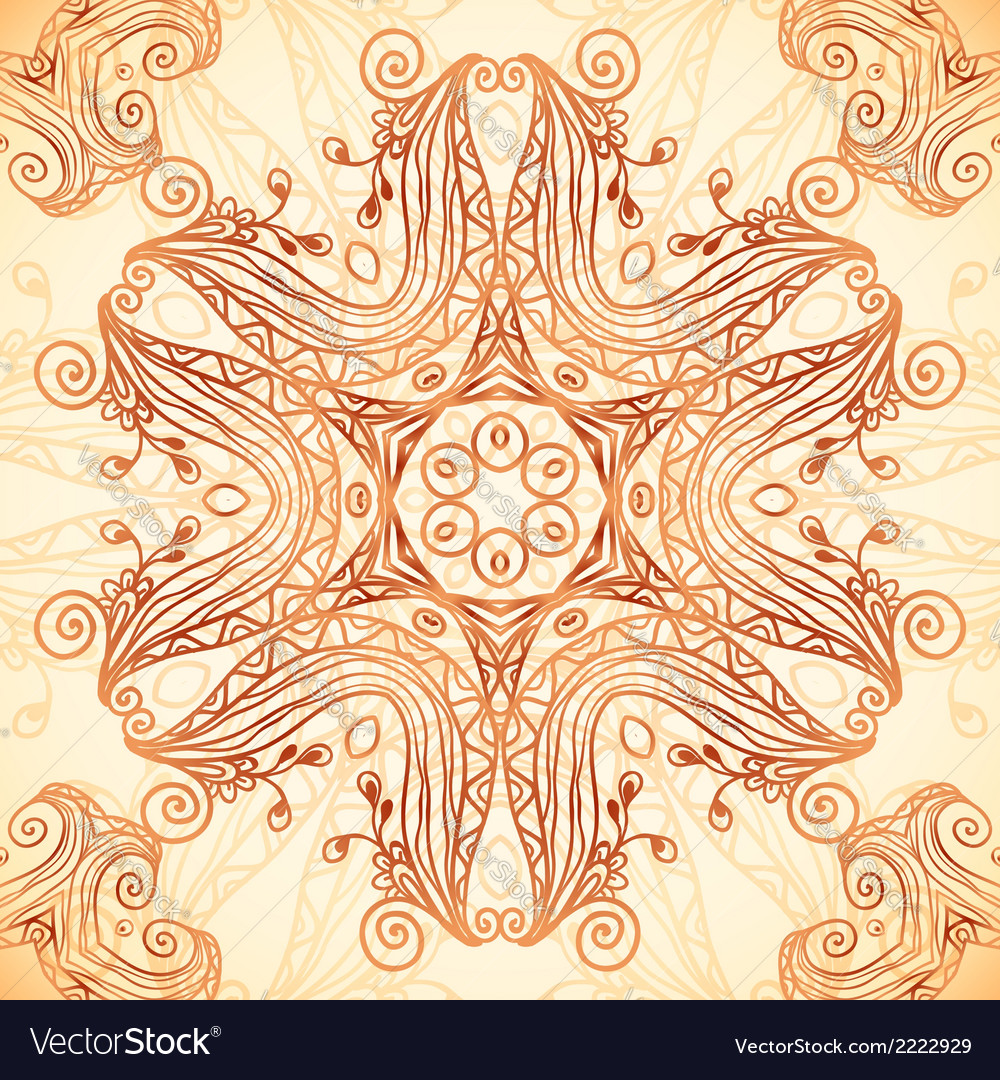 Ornate vintage template in indian mehndi style vector | Price: 1 Credit (USD $1)