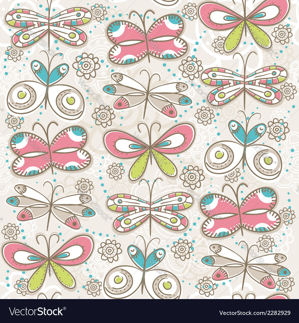 Pattern of hand draw butterflies vector | Price: 1 Credit (USD $1)