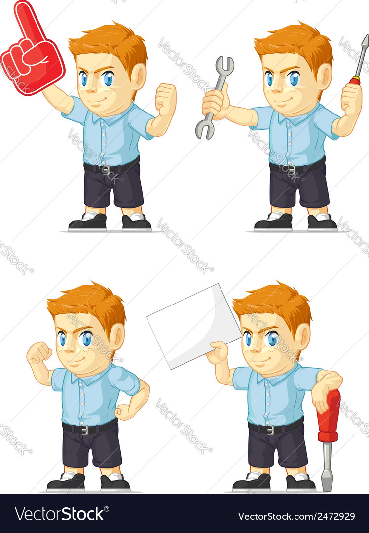 Red head boy customizable mascot 19 vector | Price: 1 Credit (USD $1)