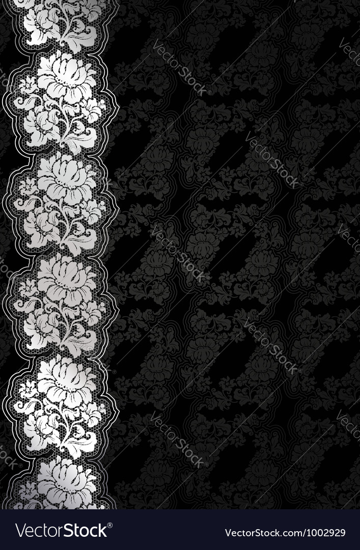 Silver flower background with lace dark template vector | Price: 1 Credit (USD $1)