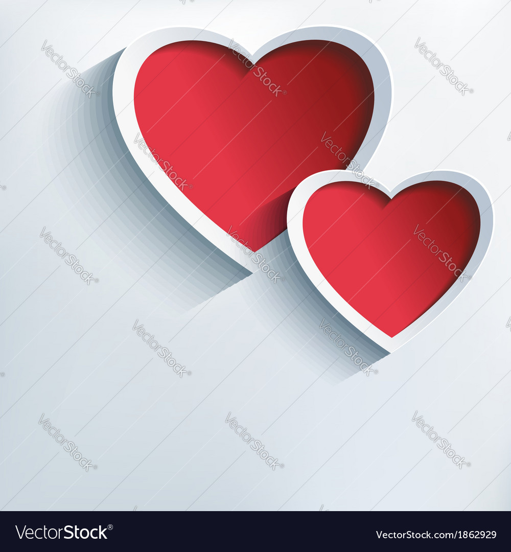 Valentine love background with two 3d hearts vector | Price: 1 Credit (USD $1)