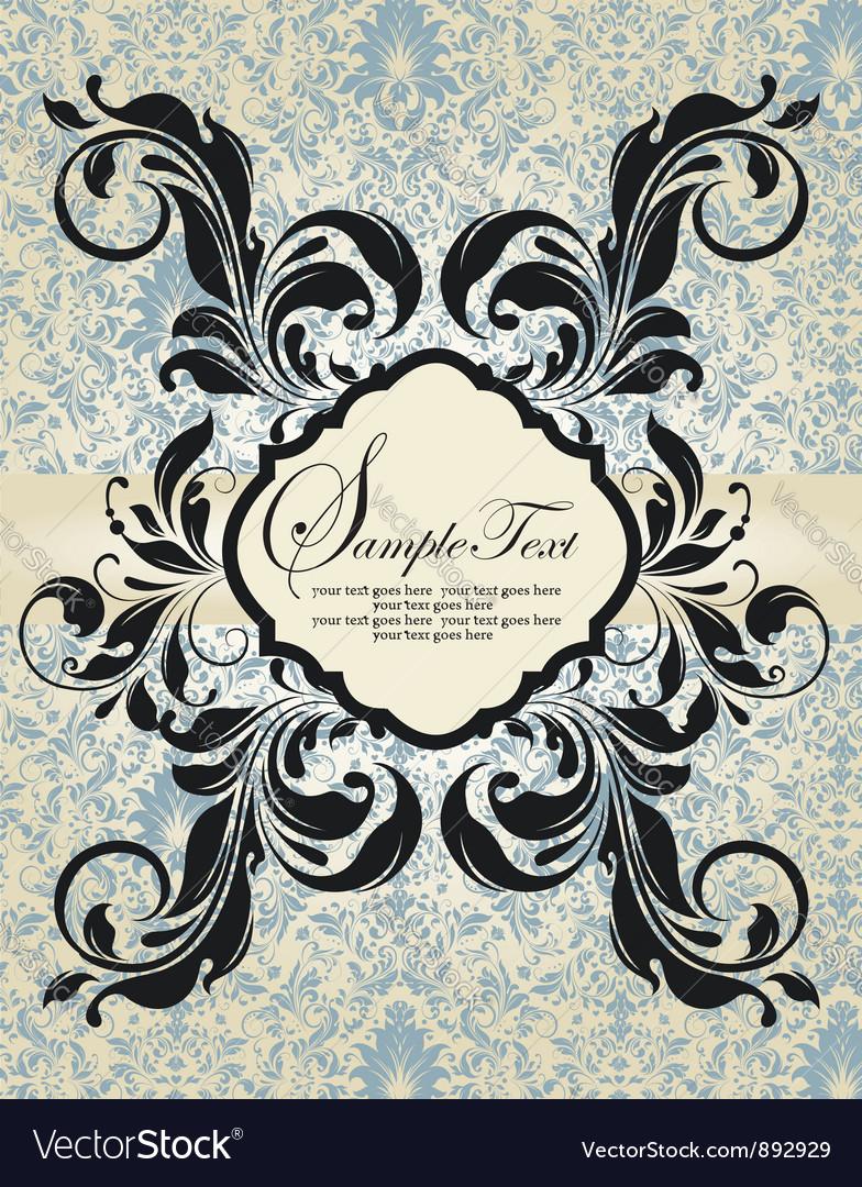 Vintage blue damask invitation vector | Price: 1 Credit (USD $1)