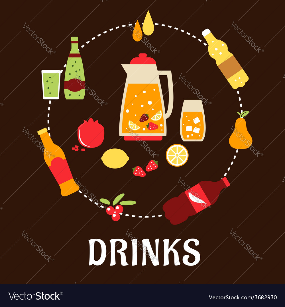 Beverages and drinks flat composition vector | Price: 1 Credit (USD $1)